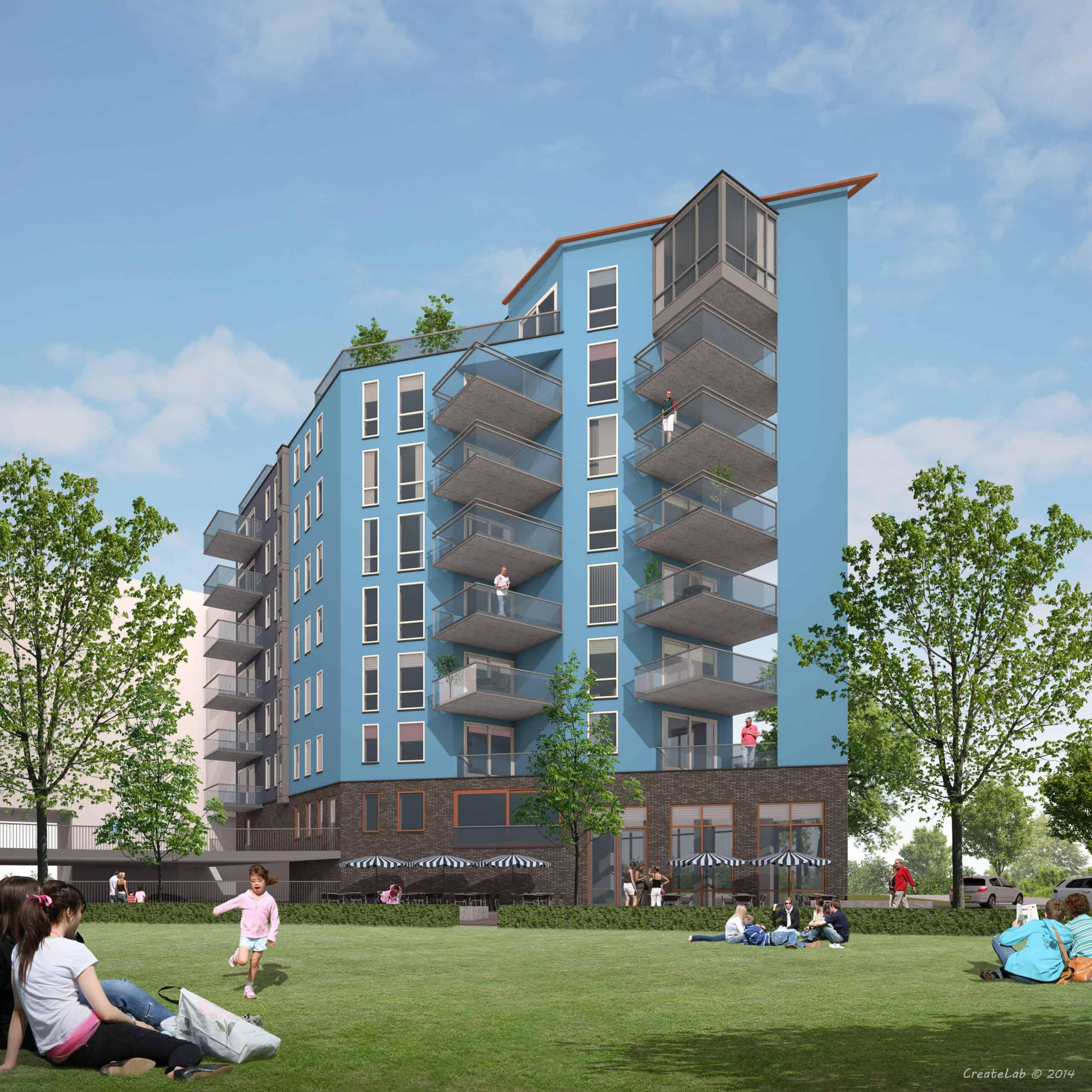 Appartementen complex impressie Homeruspark Almere Poort